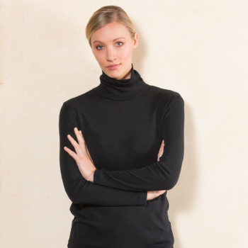 Merino Polo Neck Jumper Black